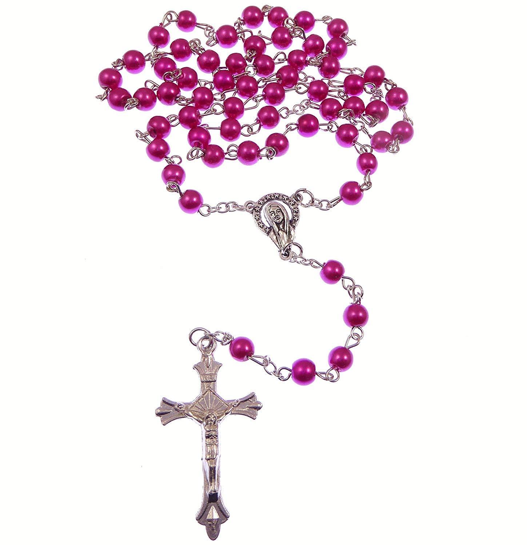 R Heaven Catholique Rose Fonc/é Chapelet Perles Verre sur Cha/îne Argent 5 Decade 49cm Longueur