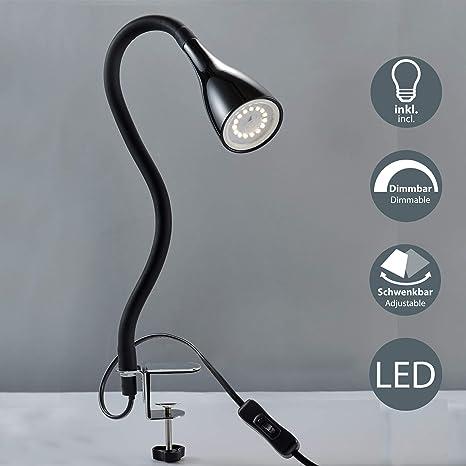 Klemmleuchte Tischleuchte Klemmlampe Tischlampe Nachttisch weiß LED 7W E-14