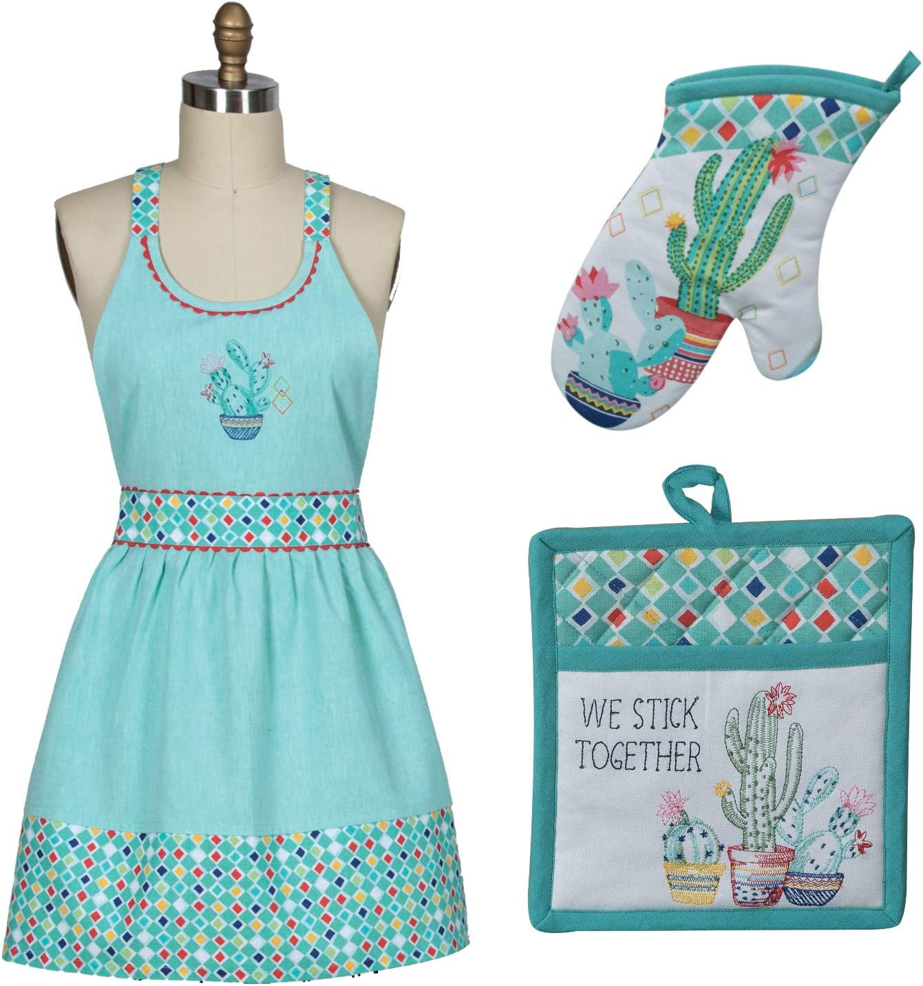 Kay Dee Designs Set of 3 Cotton Chef Apron, Oven Mitt, and Potholder Bundle in Cactus Garden Design Kitchen Linens for Cooking, Grilling, Baking Indoor Outdoor, and Ideal Gift Set
