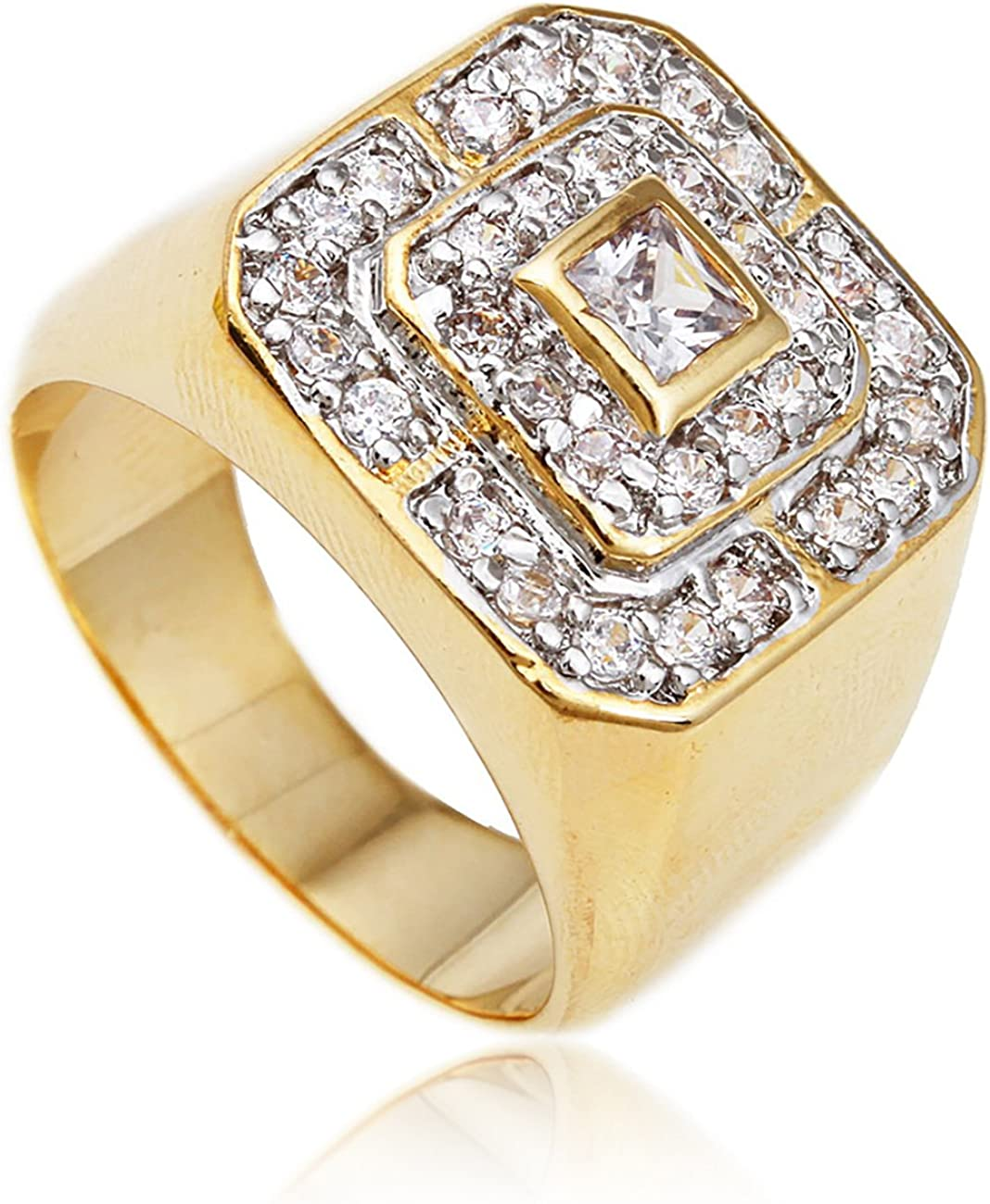 JOTW Men's Goldtone Cz Layered Squares Ring Sizes 7-17 (BF-OFHB-OBTE)