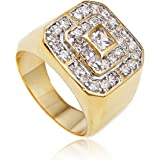 Men's Goldtone Cz Layered Squares Ring Sizes 7-17 (BF-OFHB-OBTE)