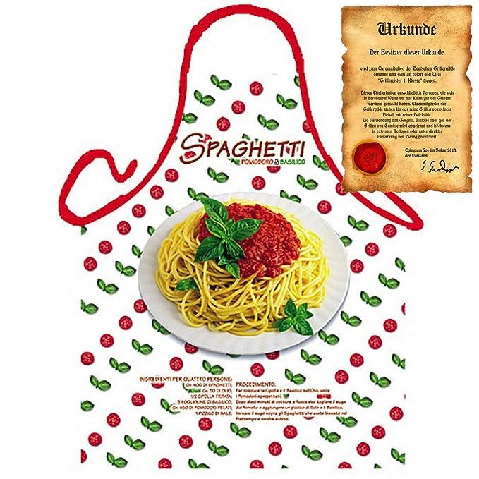 Sabuy Delantal con certificado - Spaghetti Tomates - divertido diseño Delantal como regalo para barbacoa Fans con certificado de humor - Nuevo con Gratis: ...