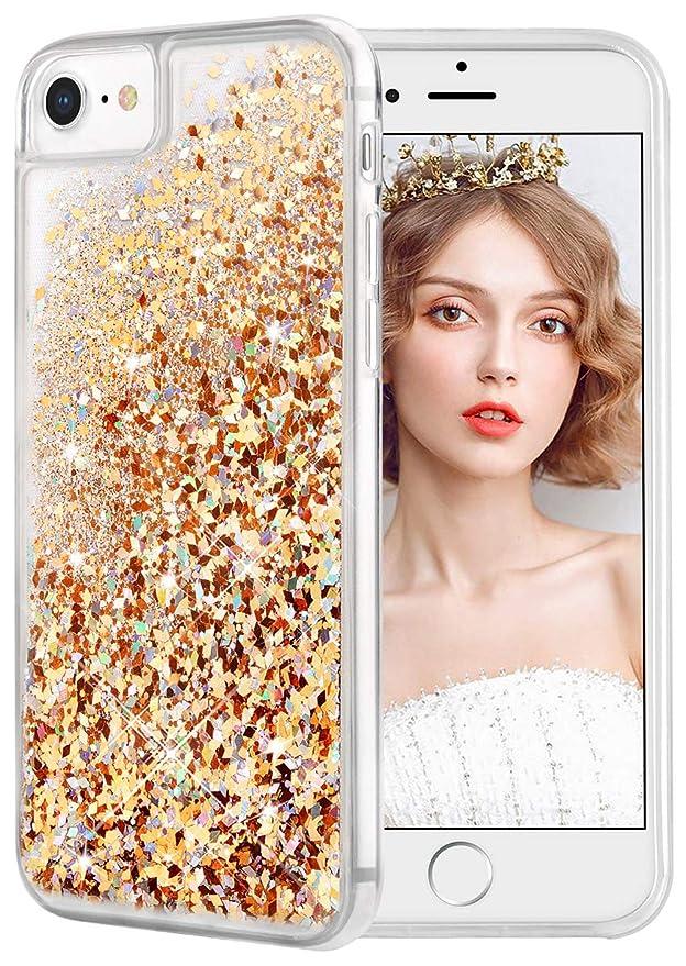 wlooo Hülle kompatibel mit iPhone 6/6s/7/8, iPhone 6s Hülle, Glitzer Flüssig Treibsand Handyhülle Glitter Quicksand Transpare