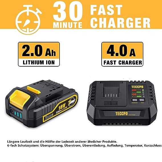 Chuck Senza Chiave 6.35mm 2 Batterie 2.0 Ah Lampada LED-TDID02P TECCPO Professional 220Nm Avvitatore a Massa Battente Motore 18V Caricatore Rapido 30min Avvitatore a Impulsi Brushless
