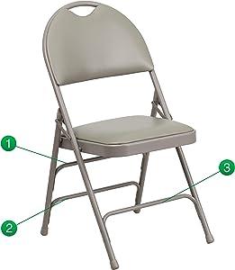 Flash Furniture HERCULES Series Ultra-Premium Triple Braced Gray Vinyl Metal Folding Chair with Easy-Carry Handle