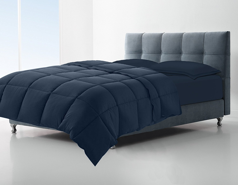 Clara Clark Down Alternative Comforter - All-Season Quilted Comforter/Duvet Insert - Hypoallergenic - Box Stitched - King/Cal-King, Navy Blue
