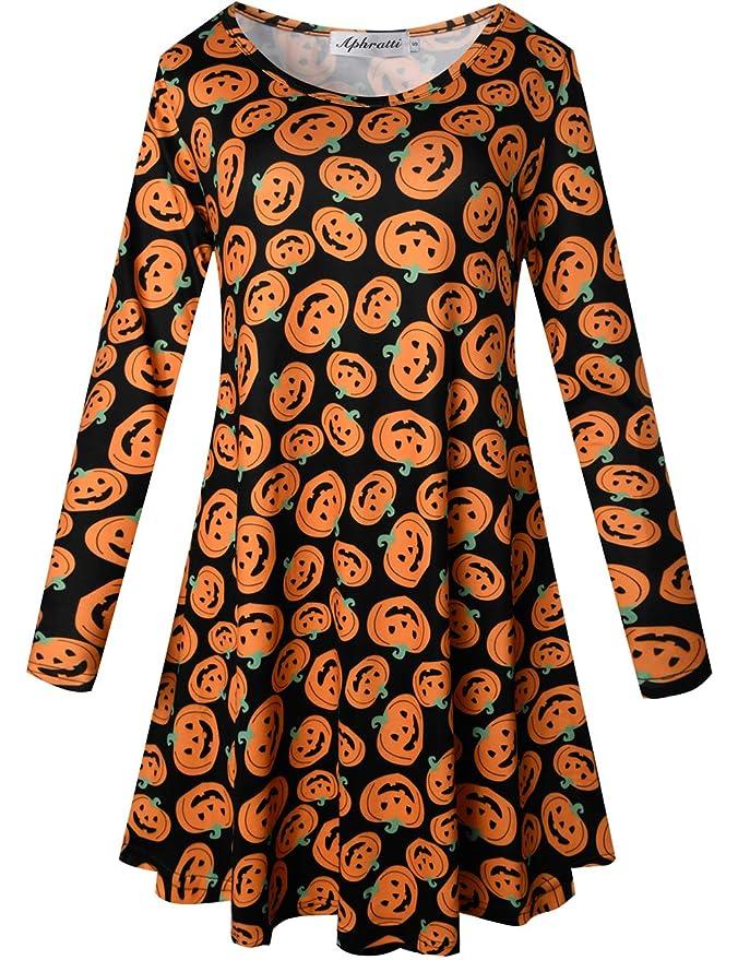 Aphratti Women's Long Sleeve Halloween Costumes Casual Flare Swing Dress New Pumpkiins X-Large
