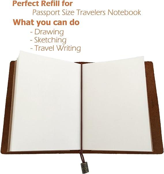 Blank Notebook Diario Sketchbook – Juego de 3 inserciones Plain Unruled Recambio para leafpaq pasaporte papel – de grosor 100 gsm crema cuaderno con papel Kraft marrón cubierta, 192 páginas – Ideal