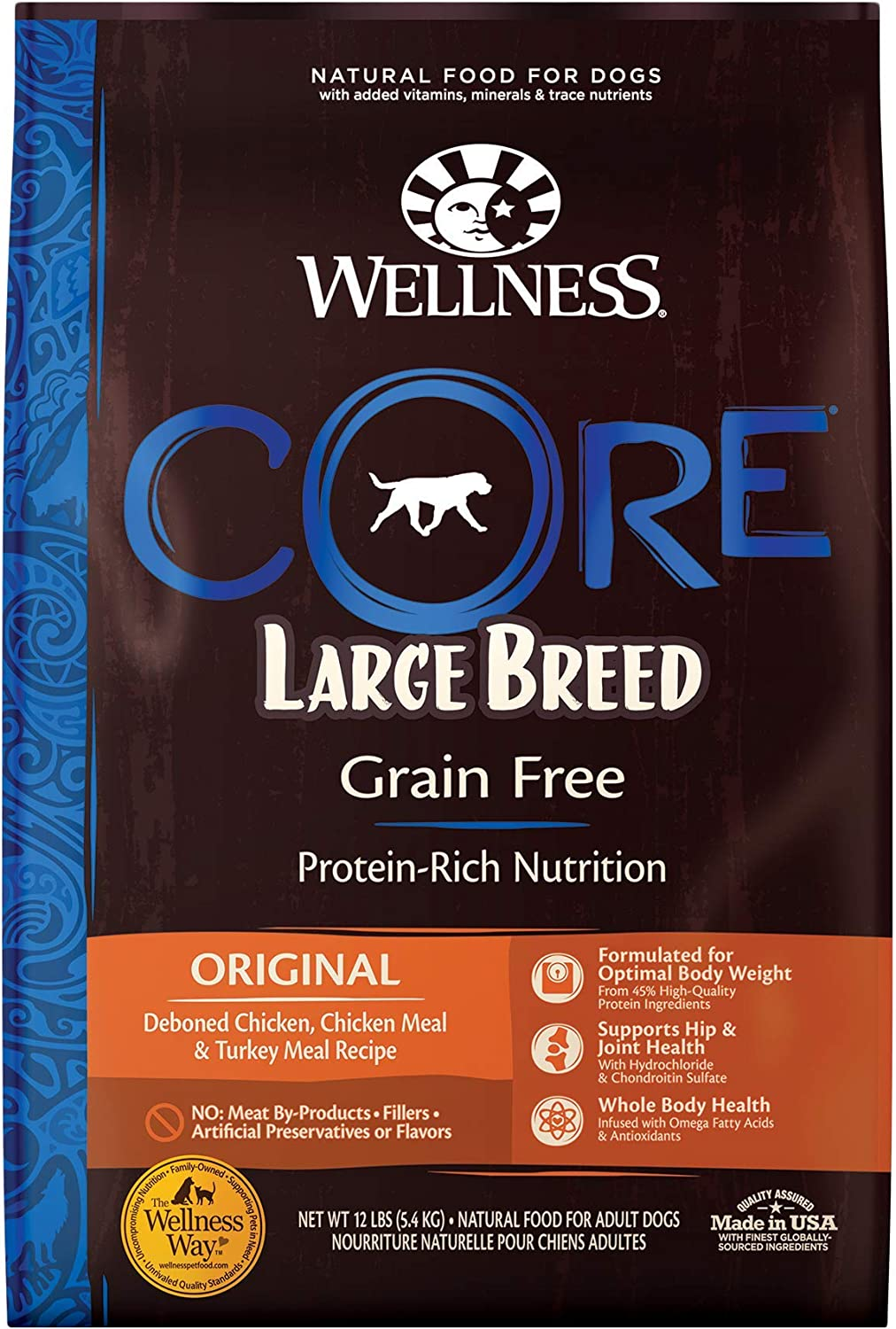 Wellness CORE Natural Grain Free Dry Dog Food, Large Breed, 12-Pound Bag