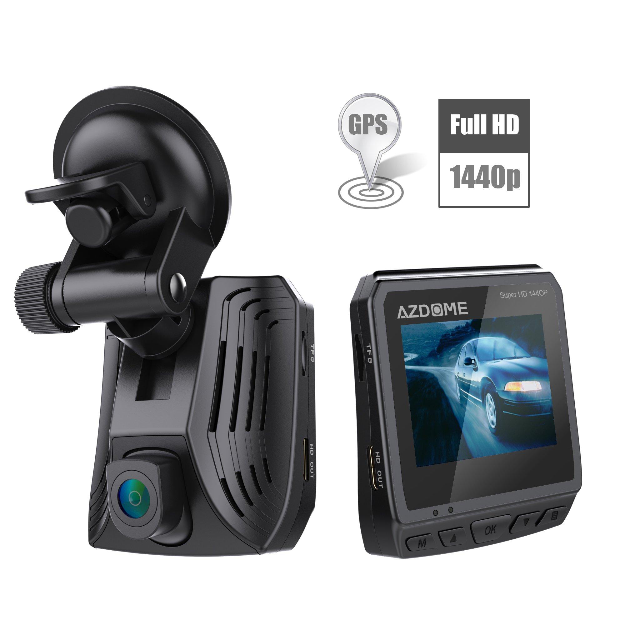 Vomach Mini Dash Cam, Super HD 1440P High Resolution video, G-Sensor, SOS Emergency Saving, ADAS, lDWS, FCWS, GPS tracking, HDMI Output etc. function Black by Vomach