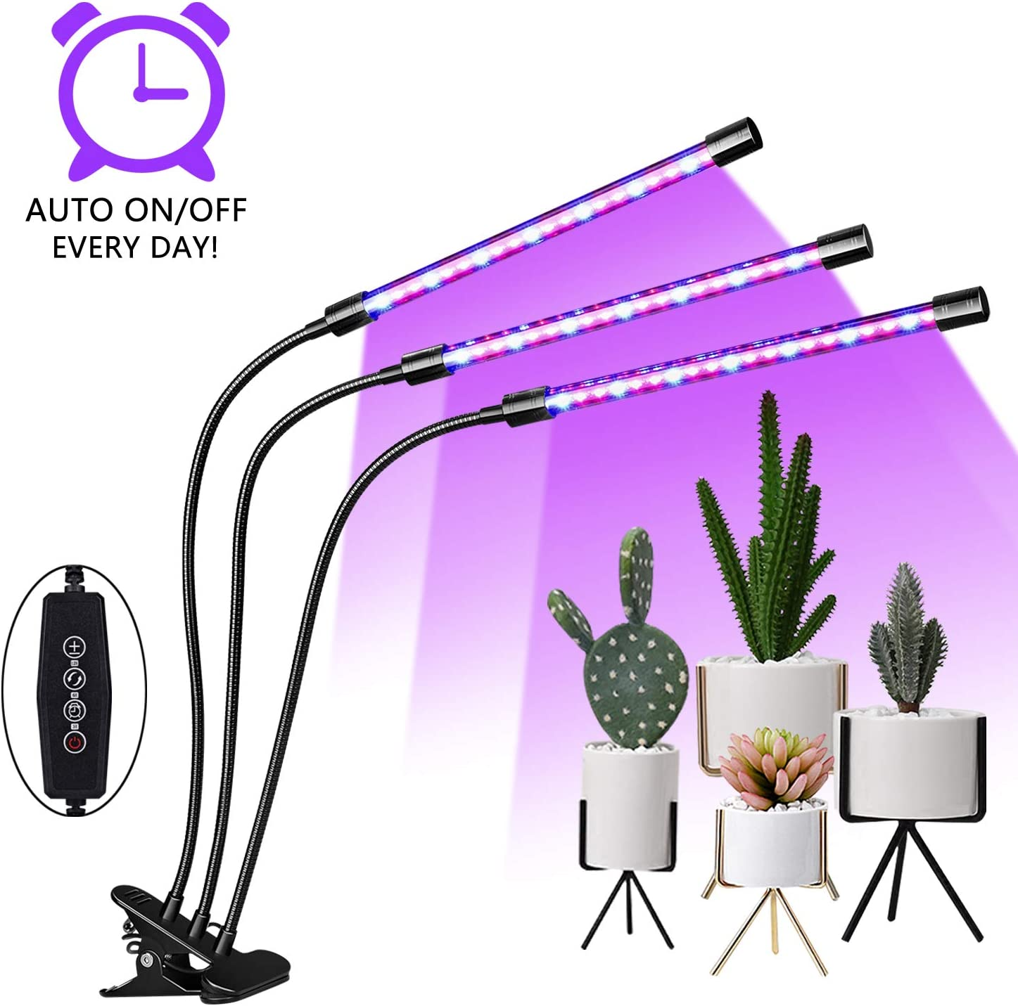 EMMMSUN Grow Light, 30W LED Grow Light with 3/6/12H Cycle Timing, 3-Head Adjustable Gooseneck Plant Light, 5 Dimmable Levels&3 Switch Modes for Indoor Plants