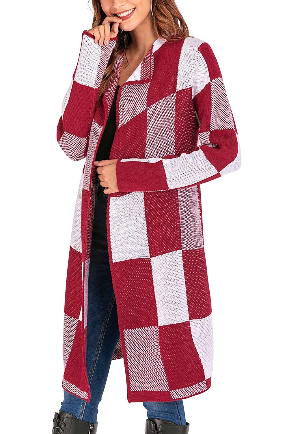 Yoyoma Womens Sweater Jacket Quality Cashmere Plaid Cardigan Coat Sweater with Fold-Over Collar for Winter