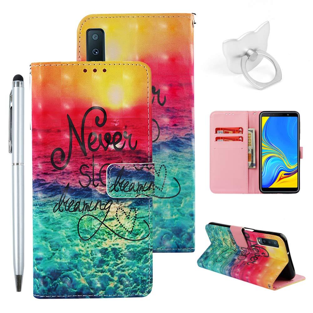 idlehour A7/A750 2018 für Samsung Galaxy Handyhülle Flip Case PU Leder Case Cover Magnet Schutzhülle Tasche Skin Ständer Handytasche,Grüne Eule