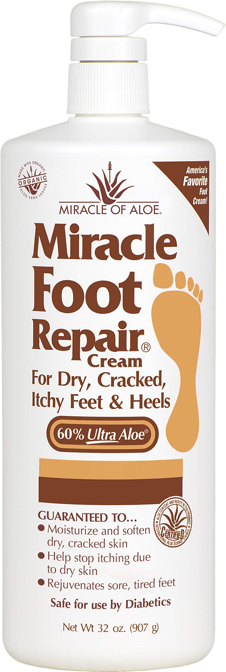 Miracle Foot Repair Cream 32 ounce bottle with pump with 60% UltraAloe by Miracle of Aloe