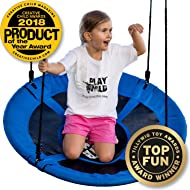 "Saucer Tree Swing - 40"" Round Swing Set - Attaches to Trees or Existing Swing Sets - Create Your Own Outdoor Backyard Playground - Adjustable Hanging Ropes - for Kids, Adults and Teens - Blue"