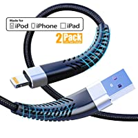 Cabepow MFi certified, 2 pack 1 m iPhone charging cable, nylon braided 3 ft lightning cable, fast charging USB charging cable for iPhone 11/XS/XSMax/XR/X/8/8 Plus/7/7Plus/6s/6/6Plus/5S/5, iPad.