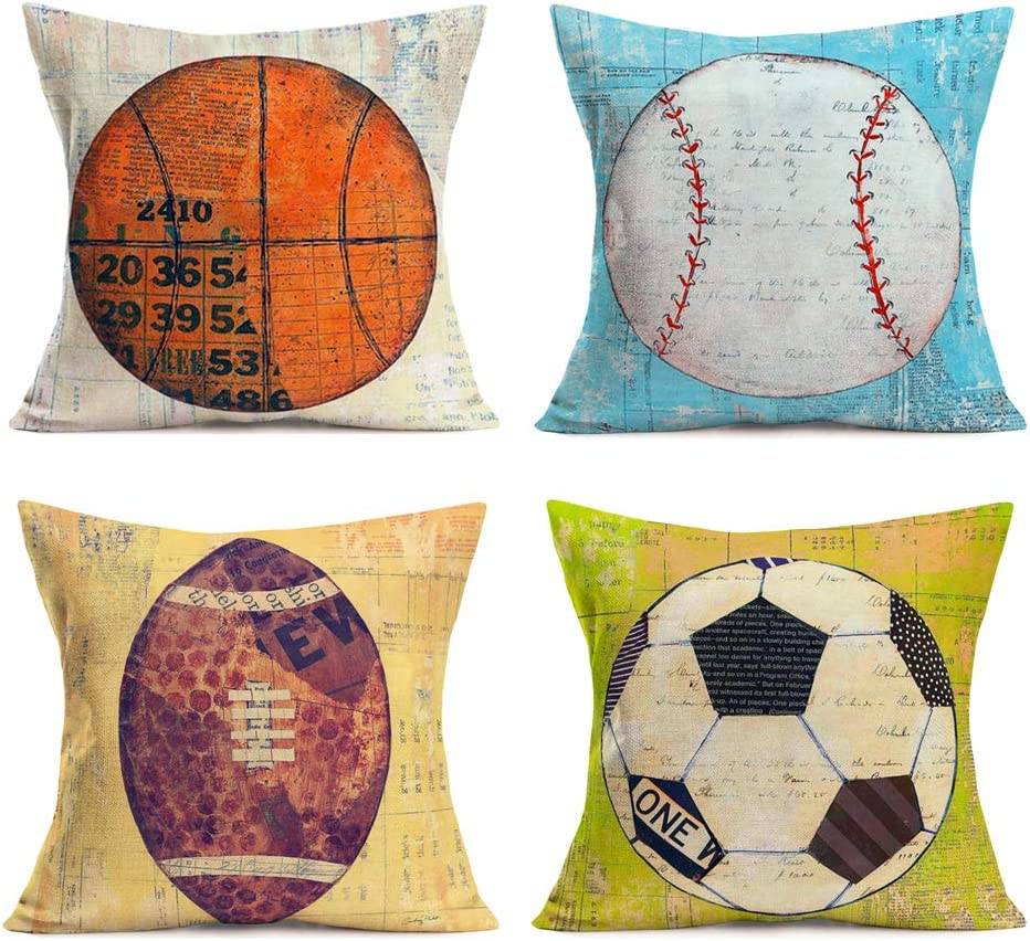 Amazon Com Hopyeer Vintage Sport Theme Throw Pillow Covers Cotton Linen Basketball Baseball Rugby Football Pattern Pillow Cases Standard Cushion Cover Decor Home Sofa Car 18 X18 Colorful 4set Vs Ball Home Kitchen