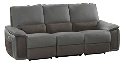 Astounding Homelegance Corazon Two Tone Double Power Reclining Sofa Top Grain Leather Fabric Matched Navy Grey Ibusinesslaw Wood Chair Design Ideas Ibusinesslaworg