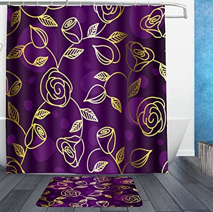 HOMESTORES Gold Rose Floral Flower Purple Shower Curtain Liner With Hooks And Bath Rug Mat
