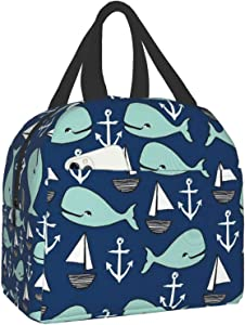 antfeagor Nautical Whales Lunch Box Insulated Meal Bag Lunch Bag Reusable Snack Bag Food Container for Boys Girls Men Women School Work Travel Picnic
