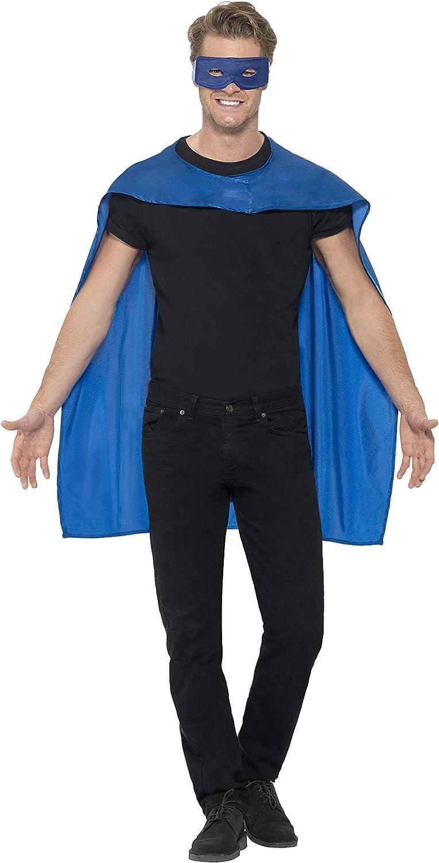 Taglia Unica 41582 con maschera per occhi per Adulti Blu Azzurro Smiffys Smiffys Mantella