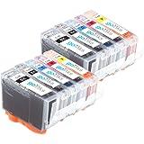 2 Compatible Set de 5 Canon PGI-5 / CLI-8 Cartouches d'encre avec puces pour imprimantes (10 encres) - noir / cyan / magenta / jaune pour Canon Pixma iP4200 iP4500 iP5100 iP5200 iP5200R iP5300 MP500 MP530 MP600 MP600R MP610 MP800 MP800R MP810 MP830 MX850 MP950 MP960 MP970