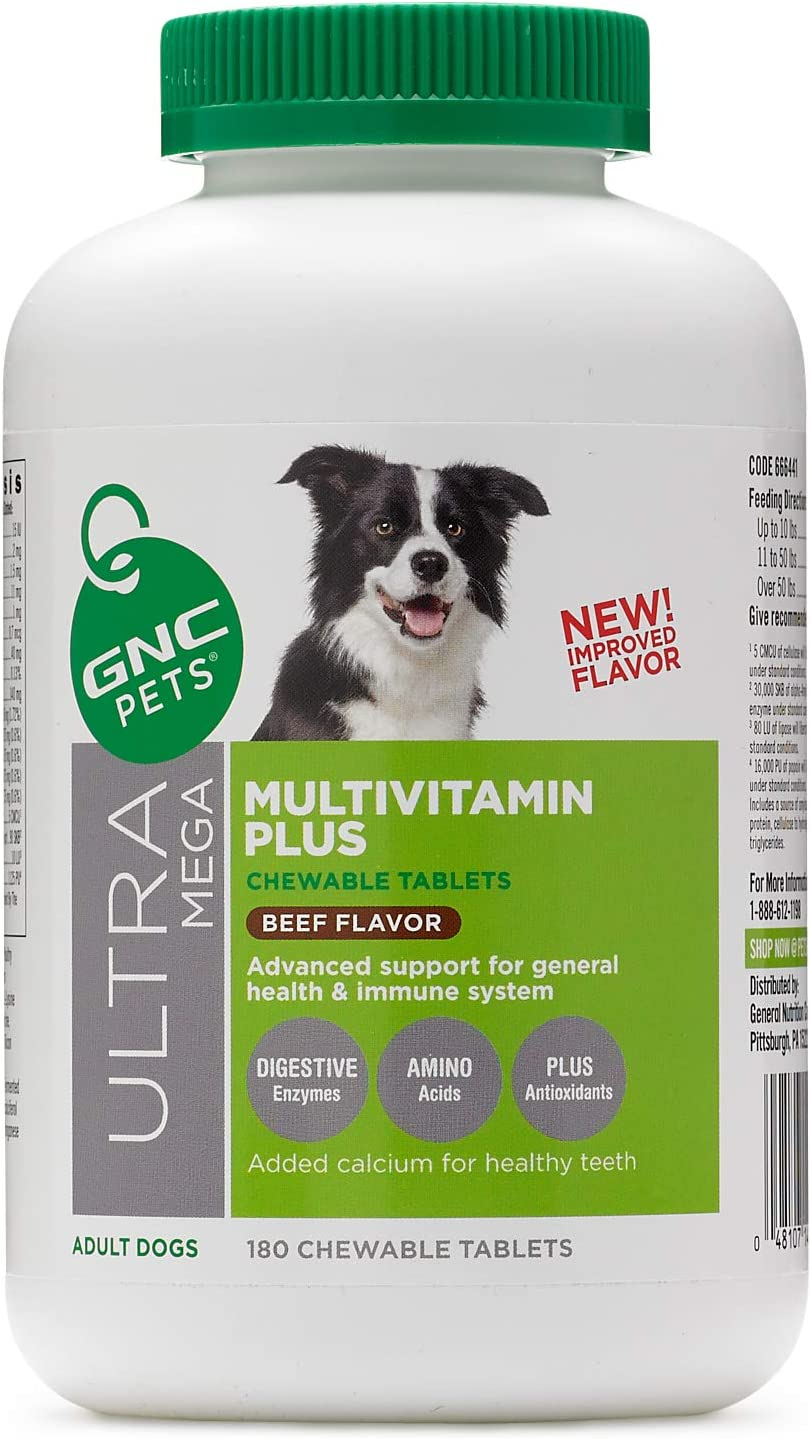 GNC Pets Ultra Mega Multivitamin Plus Chewable Tablets Supplement for Dogs | Dog Supplement Dog Multivitamins for All Dogs In Beef and Chicken Flavors | Pet Supplements Made in the USA