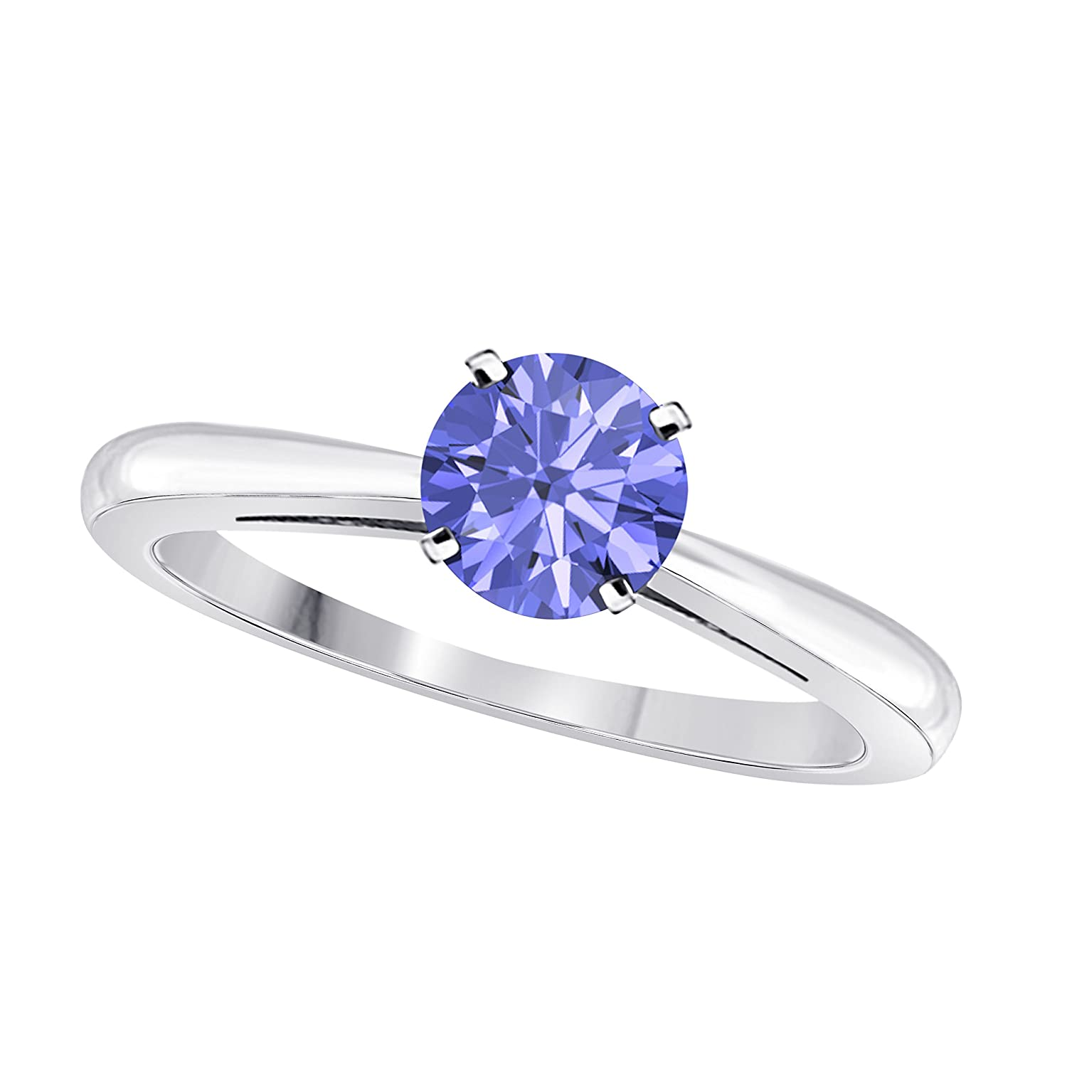 DS Jewels Birthstone Ring 14k White Gold Plated .925 Sterling Silver 6mm CZ Multi-Color Round Cut 4-Prong Set Solitair Engagement Rings Sizes 4 to 11