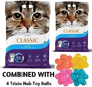 Intersand Classic - Arena para Gatos sin Perfume, 28 kg, antibacteriana, desechable e hipoalergénica, con fórmula de Control de Olor, combinada con 4 Bolas de Juguete Trixie Nub: Amazon.es: Productos para mascotas