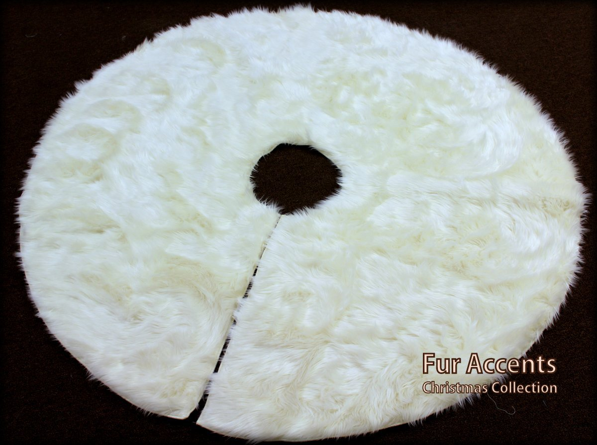 Fur Accents Christmas Holiday Tree Skirt, Plush Shaggy Faux Fur (Snow White, 70'' Diameter) by Fur Accents