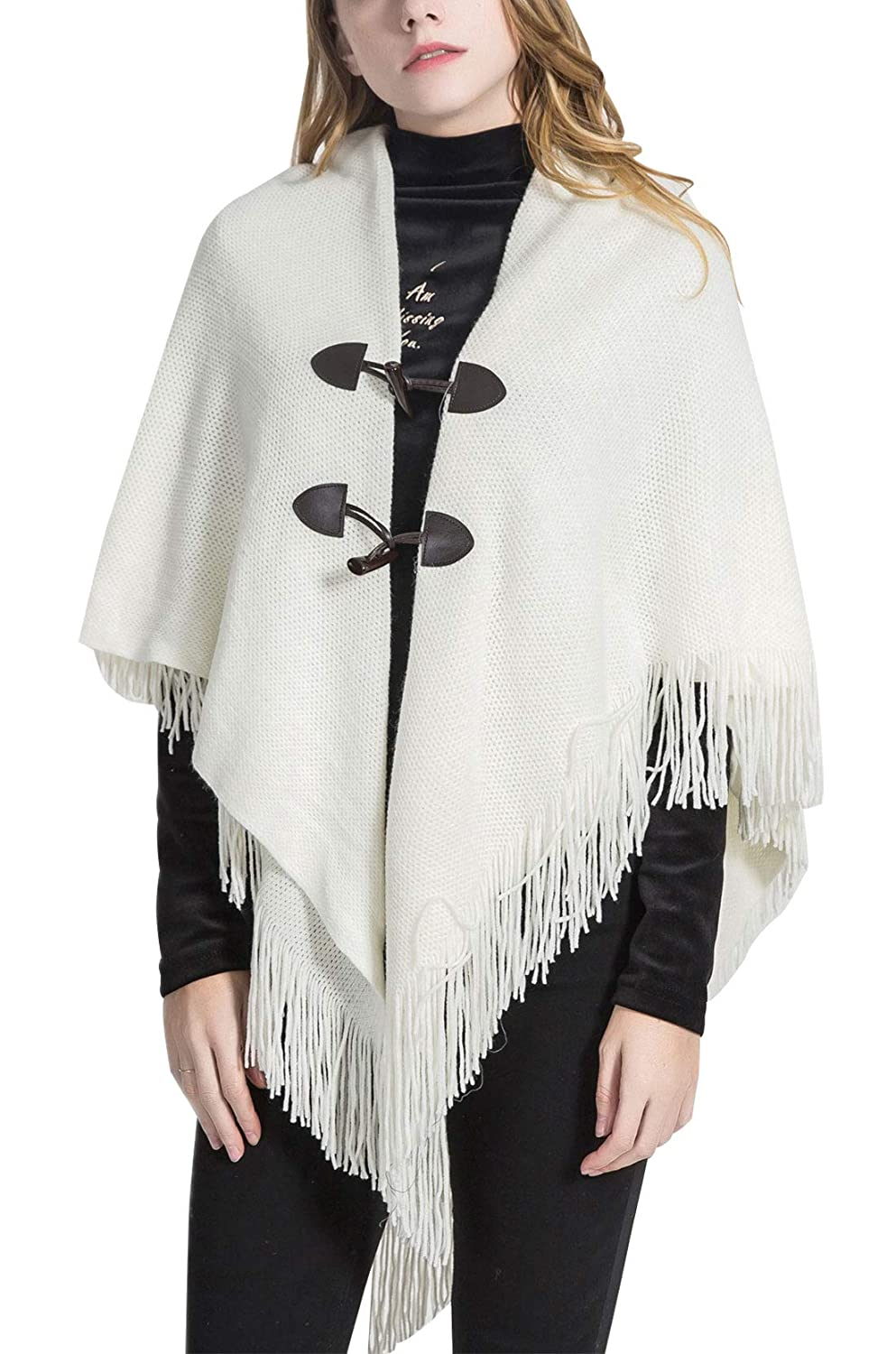 Women's Fashion Solid Color Shawl Wrap Horn Buckle Open Front Poncho Cape -White FEOYA