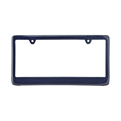 BLVD-LPF OBEY YOUR LUXURY Real 100% Blue Carbon Fiber License Plate Frame TAG Cover FF: Automotive