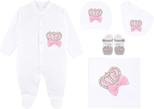 Lilax Baby Girl Newborn Crown Jewels Layette 3 Piece Gift Set 0-3 Sparkle Crown