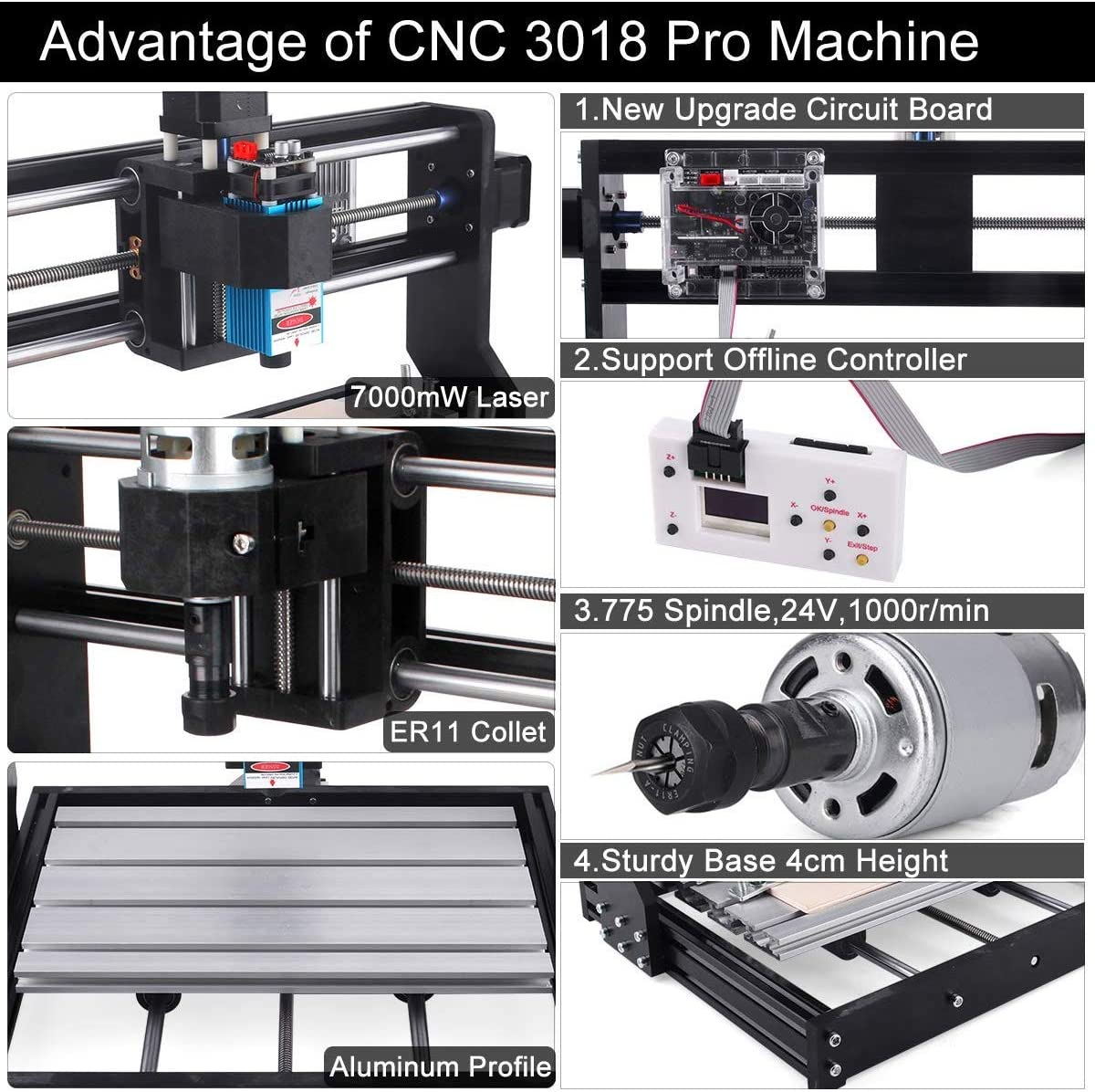 3 Axis PCB Milling Carving Machine CNC Router Kit with Offline Controller 7W Laser Engraver CNC 3018 Pro GRBL Control Engraving Machine 7000mW Working Area 300x180x45mm