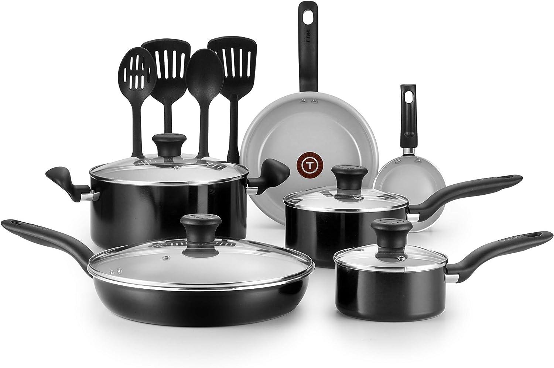 T-fal G917SE64 Initiatives Ceramic Nonstick Dishwasher Safe Toxic Free 14-Piece Cookware Set, Black (Renewed)