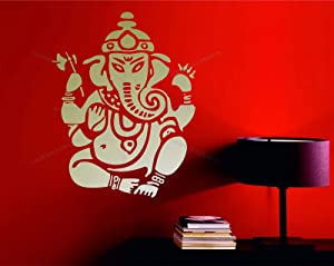 Wall Vinyl Decals Lord Ganesh Vinayaka Ganesha Ganapati Hindu God Mantra Aum Sanskrit Decorative Vinyl Wall Art Sticker Decal Made in USA