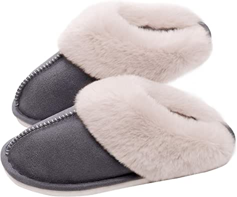 SOSUSHOE Womens Slippers Memory Foam Fluffy Fur Soft Slippers Warm House Shoes Indoor Outdoor Winter