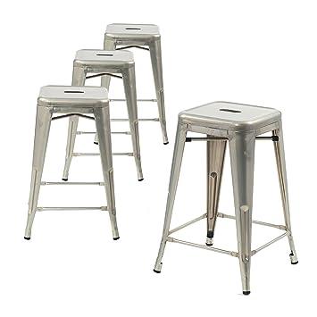 Buschman Set Of 4 Galvanized Counter Height Metal Bar Stools