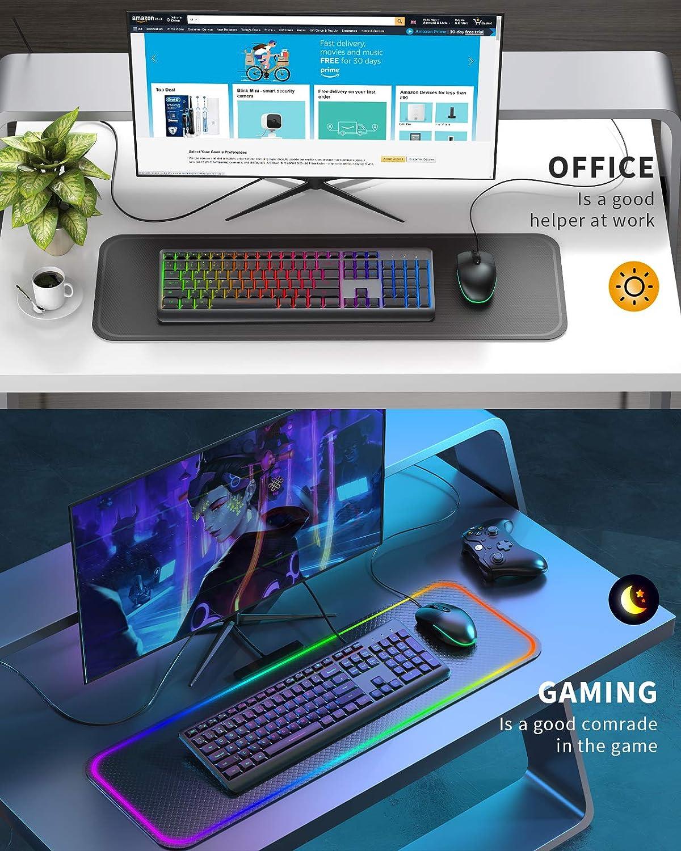 Ergonomic Keyboard Rainbow LED Backlit Gaming Keyboard Plug and Play for Windows Mac Laptop PC Jelly Comb Wired Keyboard Computer Wired Backlit Keyboard Full Size USB Keyboard UK QWERTY Layout