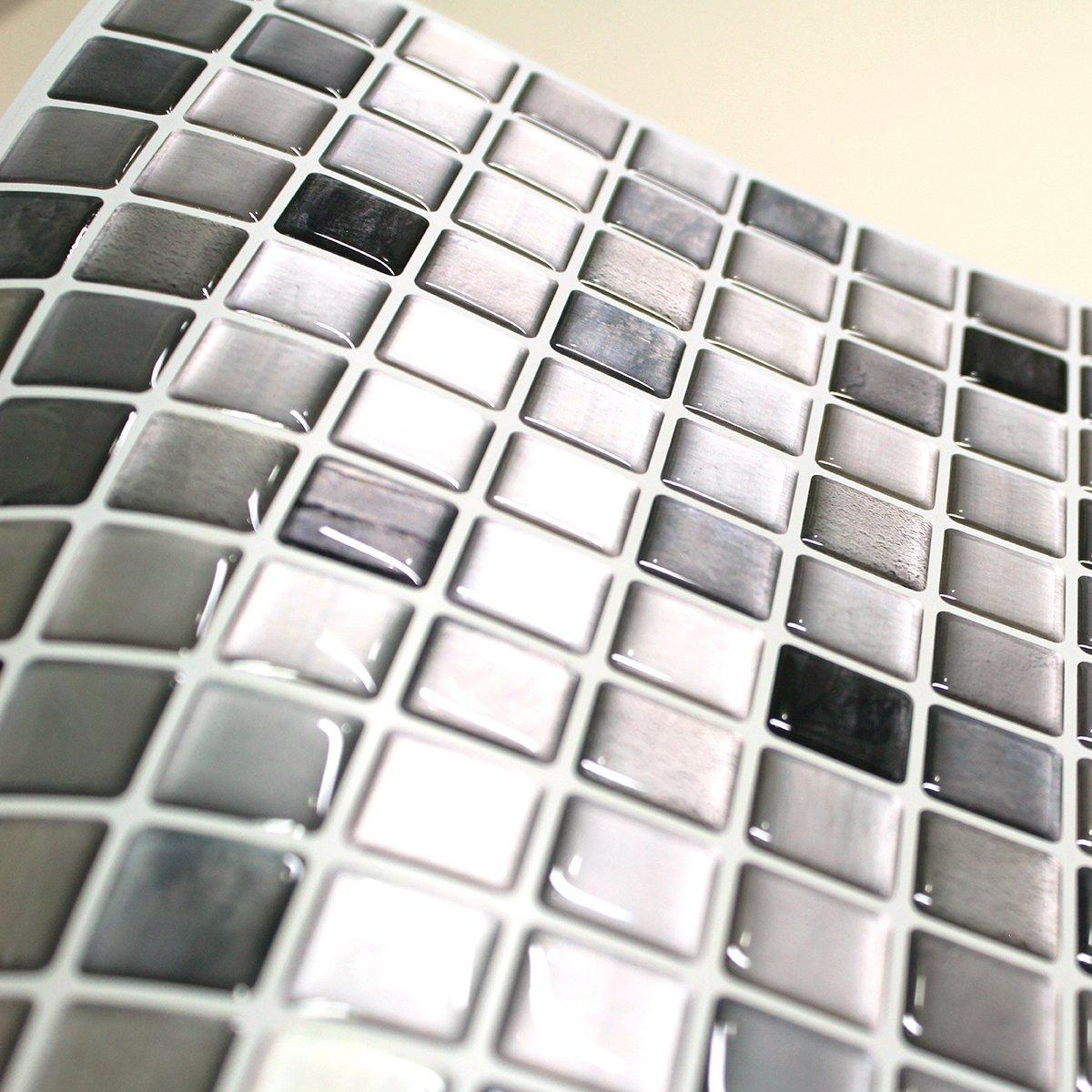 BEAUSTILE Decorative Tile Stickers Peel Stick Backsplash Fire Retardant Tile Sheet (Monocrome) (10, 12.2'' x 12.2'') by BEAUS TILE (Image #3)