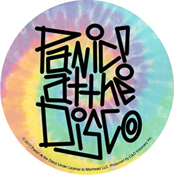 Panic at the disco rainbow tie dye logo die cut sticker decal