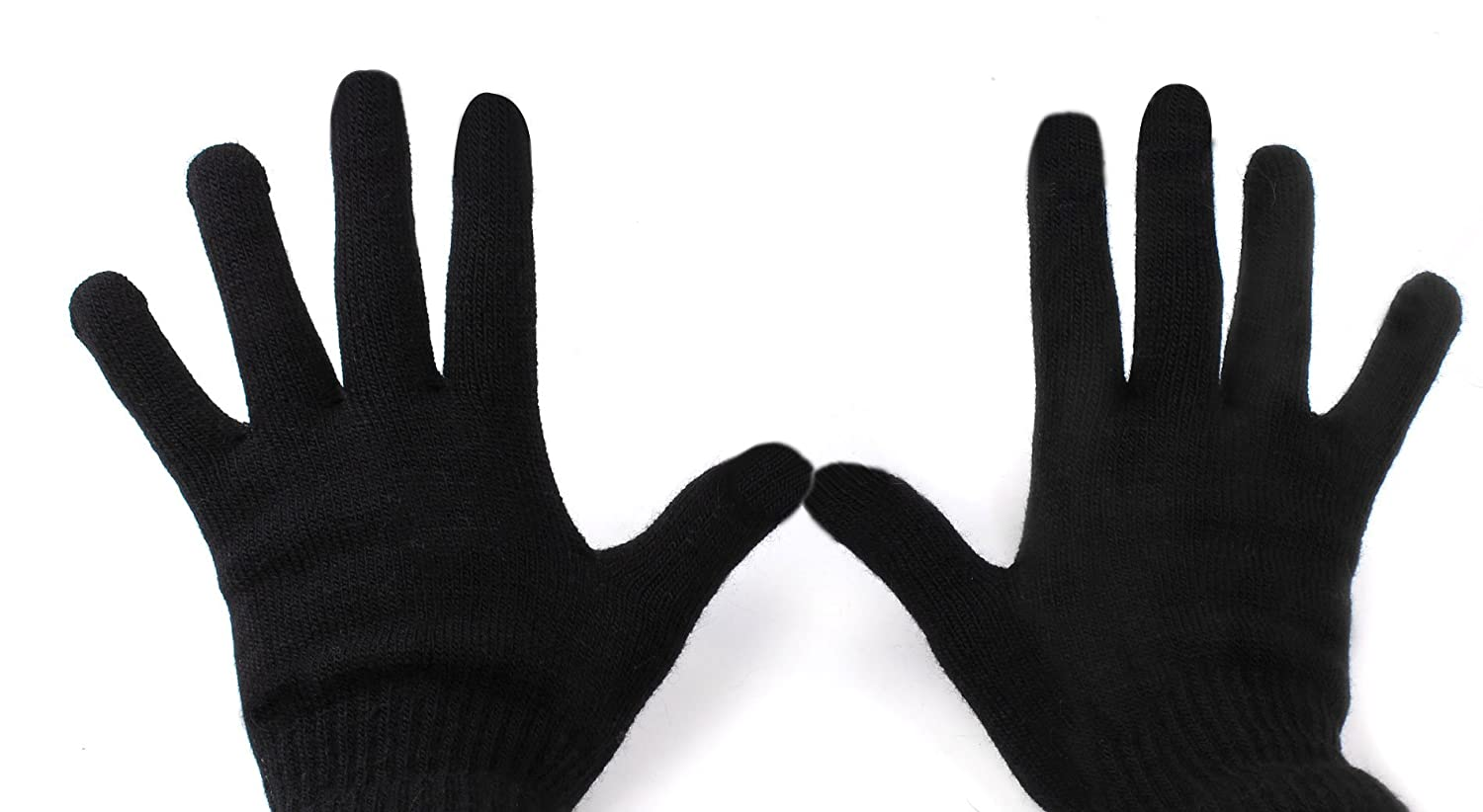 Large for Wiko Mazing DURAGADGET Unisex Black Touch Screen Gloves 70/% Wool