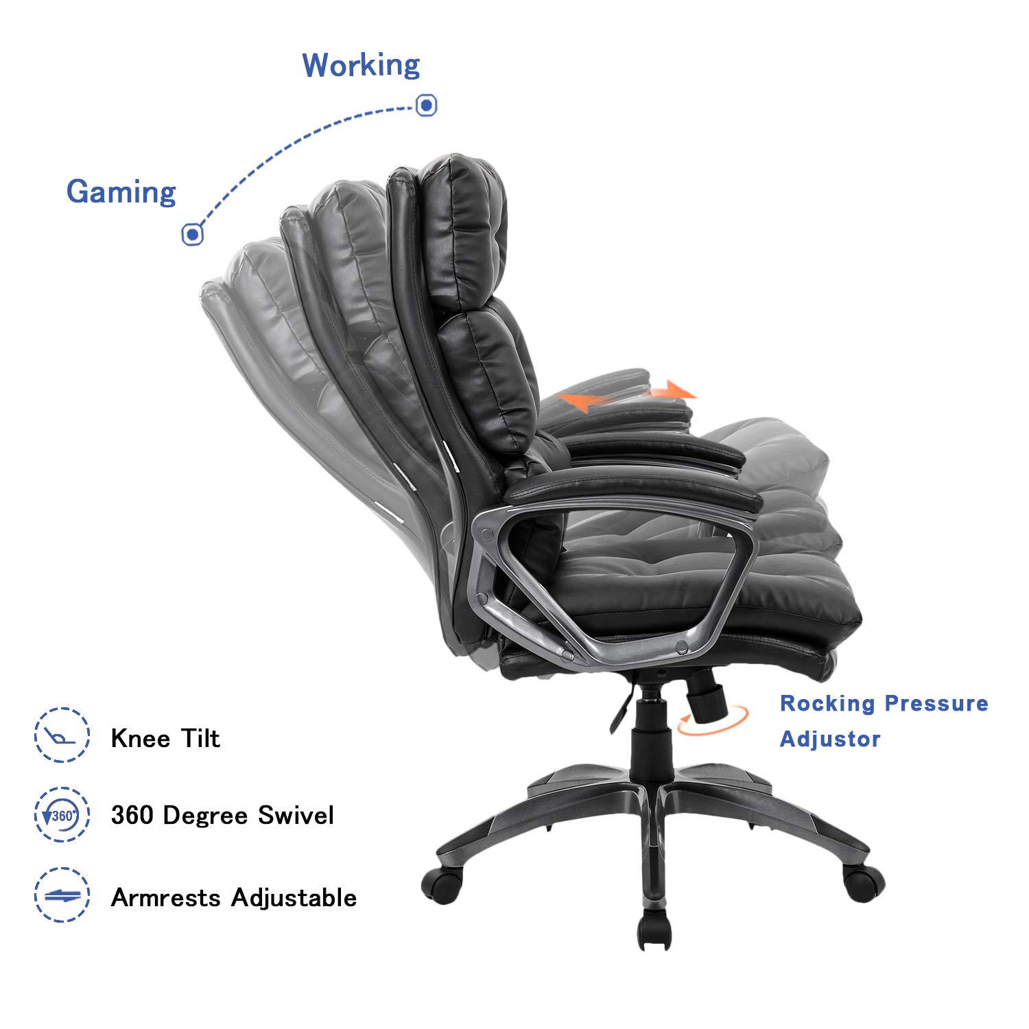 High Back Executive Office Chair, Comfortable Leather Ergonomic Computer Task Chair for Lumbar Support,Big and Tall Desk Chair with Curved Armrests Height Adjustable Tilt-Black 400 LBS
