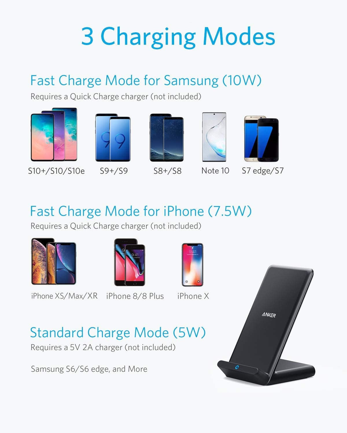 11 Pro Anker Wireless Charger 7.5W for iPhone 11 Note 10 Note 9 Note 8 Xs Max 11 Pro Max 10W for Galaxy S10 S9 S8 XR 8Plus X 8 No AC Adapter 2 Pack PowerWave Stand Qi-Certified XS