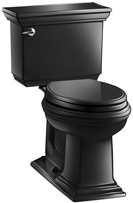 Miraculous Kohler K 3817 7 Memoirs Stately Comfort Height Two Piece Elongated 1 28 Gpf Toilet With Aquapiston Flush Technology And Left Hand Trip Lever Black Unemploymentrelief Wooden Chair Designs For Living Room Unemploymentrelieforg