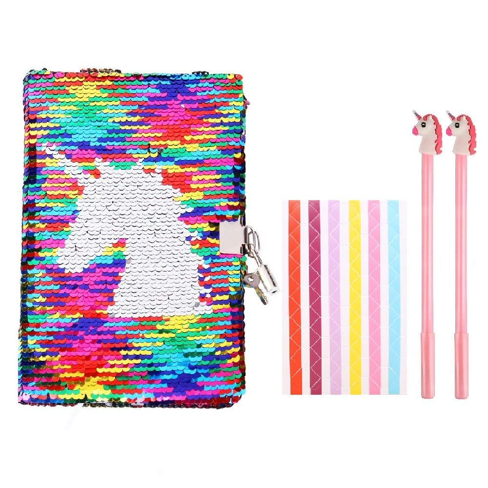 "Fanovo Sequin Notebook, Unicorn Journal, Mermaid Reversible Sequin Diary with Lock and Key, Size A5 (8.5"" x 5.5"") , + 1 Sheet Photo Corner + 2 Pens (Unicorn-with Lock)"
