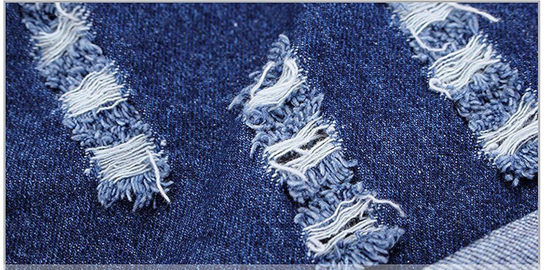 Chumhey Girls Shirt /& Jeans Overalls Big Bib Ripped Holes Jeans Shortalls Set