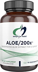 Designs for Health Aloe/200x - 200mg Aloe Vera Extract - Highly Concentrated Aloe Leaf Supplement for GI Support - Non-GMO, Vegetarian Pills (60 Capsules)