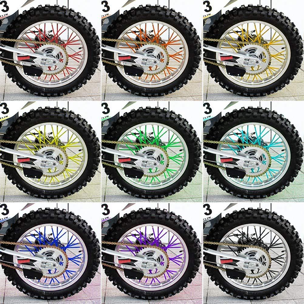 Spoke Skins Motociclo Cerchi per Pelli Fuoristrada Custodia per Moto Avvolgente Kit 36 pezzi per la Maggior Parte dei Motocross rosso