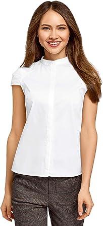 oodji Ultra Mujer Camisa con Cuello Mao de Manga Corta Raglán: Amazon.es: Ropa y accesorios